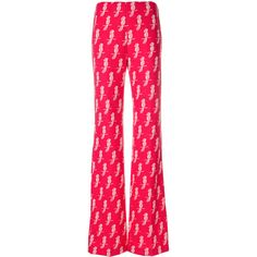 Miu Miu Jersey Parrot print trousers ($1,200) ❤ liked on Polyvore featuring pants, pink, high-waisted pants, long pants, elastic waist pants, high-waisted trousers and high waisted pants