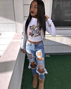 Best Cute Outfits Part 6 Chill Outfits, Dope Outfits, Trendy Outfits, Lit Outfits, Black Girl Fashion, Teen Fashion, Fashion Outfits, Urban Fashion Girls, High Fashion