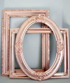 Set of 3 Rose Gold Metallic Large Vintage Empty Frames: wedding decor, bridal, baby shower, photo booth props, ornate oval frame, wall art