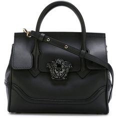 Versace Medusa Tote (£1,520) ❤ liked on Polyvore featuring bags, handbags, tote bags, black, tote purse, leather tote, versace, leather handbags and versace tote