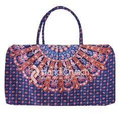 Violet Mandala Designs Pattern of Travel Bag Travel Handbags, Mandala Design, Travel Bag, Handicraft, Pattern Design, Shoulder Bag, Stylish, Purple, Stuff To Buy