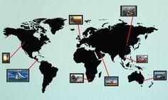 MAP of the WORLD Photo Wall Sticker Travel Photo by stickerlove2