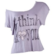 Crafted Think I Love Print T-Shirt ($22) ❤ liked on Polyvore featuring tops, t-shirts, shirts, blusas, womens t-shirts, shirt tops, tee-shirt, i love t shirts, purple tee and purple t shirt