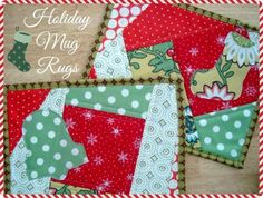 Learn the quilt as you go method while sewing super cute holiday mug rugs. Template included and free pattern.