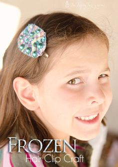 make your own felt hair clips with snowflakes, buttons, rhinestones and more, a fun and easy craft for your frozen birthday party