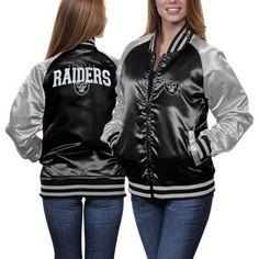 Oakland Raiders Ladies Team Spirit Satin Jacket - Black/Silver