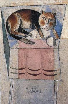 """Franco Gentilini (Italian, 1909-1981) - """"Il gatto (No. 2)"""", 1954 - Oil and sand on canvas"""