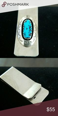 STERLING SILVER MONEY CLIP This STERLING MONEY CLIP was handcrafted by a native american indian tribe.has weight.genuine gemstones as well.FATHERS DAY IS AROUND THE CORNER. Graduation or bar mitzvah gift or treat yourself or your spouse. Jewelry
