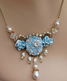 Lilygrace Delicate Blue Floral Cameo by LilygraceOriginals on Etsy, $100.00