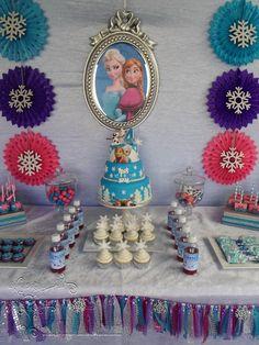 Disney Frozen Styled Candy and Dessert Table #Frozen #Anna #Elsa