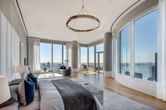 Sprawling Penthouse at the Eastern Edge of Manhattan's Billionaire's Row - Mansion Global Glass Countertops, Luxury Penthouse, White Oak Floors, Pent House, Living Room Kitchen, The Row, Luxury Homes, Living Spaces, Lounge