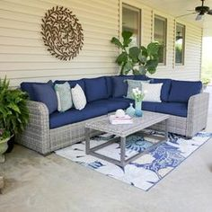 Comfortable and built for the outdoors, the Dalton Corner Sectional adds stylish extra seating to your outdoor space. The hand-woven outdoor wicker is modeled in light and dark brown tones, lending a casual vibe to this outdoor seating set. Outdoor Wicker Furniture, Outdoor Sofa, Rustic Furniture, Outdoor Living, Antique Furniture, Screened In Porch Furniture, Genius Ideas, Wicker Coffee Table, Coffee Tables