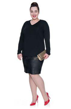 Podwójna elastyczna bluzka ze złotą falbanką - Modne Duże Rozmiary