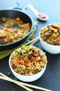 Vegan Fried Rice | Minimalist Baker Recipes Sub peas for edamame, add corn