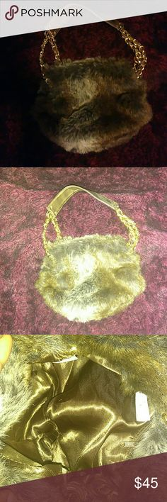 Spotted while shopping on Poshmark: Brown Faux fur bag with gold link handle.! #poshmark #fashion #shopping #style #Apt. 9 #Handbags