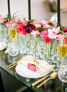 #gold, #carnation, #tablescapes, #ranunculus, #anemone, #centerpiece, #blackberry, #pink, #red  Photography: Sarah Beth Photography - www.sbethphoto.com  Read More: http://www.stylemepretty.com/2015/04/28/modern-melrose-mansion-wedding-inspiration/