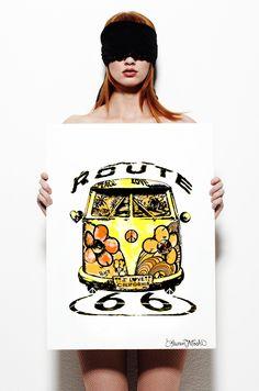 Canvas Color Hippie Van Art