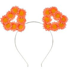 Coral floral hear ear hairband