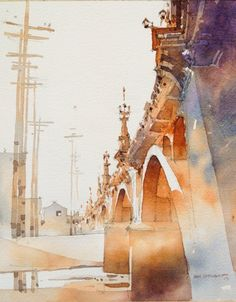 ♥ | © Iain Stewart | November 8, 2013 The LA River at the Olympic Blvd Bridge. Painting from refs on T's porch