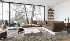 Truly inspiring cosy winter living room space with white walls, grey sofa, grey rug.and a CAT! by STREIF Haus GmbH Classic Living Room, Living Room Modern, Interior Design Living Room, Living Room Designs, Interior Decorating, Decorating Ideas, Decor Ideas, Home Interior, Small Living