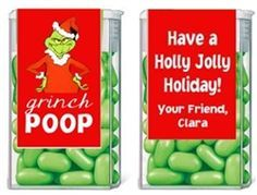 Christmas Grinch Poop Tic Tac Labels. Christmas Tic Tac Labels are fun Christmas party favor ideas for adult parties or for children's parties.   best stuff