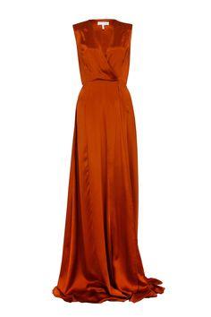 L.2.Mae Austere Wrap Evening Dress by exhibitor Little Black Dress. We love the burnt orange colour - very autumnal!