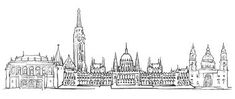 Illustration about Budapest Hungary Panorama Sketch, Monochrome Urban Cityscape Vector Artprint. Illustration of print, skyline, urban - 92913711 Sketchbook Drawings, Cool Drawings, Sketches, Paper Plane Tattoo, Learn To Sketch, City Sketch, Famous Architecture, Map Tattoos, Landscape Sketch