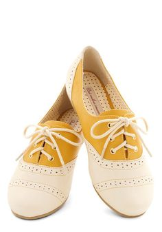 Skip down your street in these yellow lace-up flats from Bait Footwear! The cream heel and toe of this vegan faux-leather loafer are accented with darling dotted perforations. $55