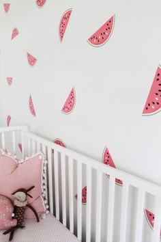 How cute! Watermelon wall stickers for decorating.