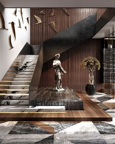 The interest, richness and depth that mixed materials bring to a design scheme is undeniable. Residential House in Dubai By Home Stairs Design, Modern House Design, Home Interior Design, Interior Architecture, Amazing Architecture, Staircase Design Modern, Stair Design, Stairs Architecture, Luxury Staircase