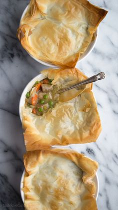 Save a ton of calories and fat by using phyllo and this simple recipe for Phyllo Chicken Pot Pie! So easy and incredibly delicious!
