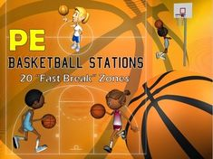 """DRIBBLE, SHOOT, REBOUND, SCORE!!!  The PE Basketball Stations are 20 fun filled, """"fast break"""" basketball themed station signs/cards that you can use in your school gymnasium , outdoor blacktop or could be modified to be performed in a smaller space such as a classroom or empty cafeteria. Each basketball station card provides a basketball-related skill (i.e. dribbling, passing, shooting, etc.) and includes a brief instructional direction and a graphic that depicts the activity."""