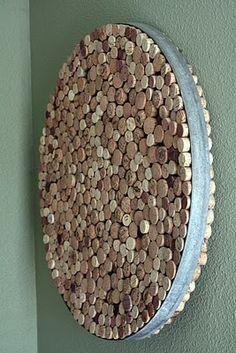 The Tipsy Terrier Pub: wine corks in a barrel hoop