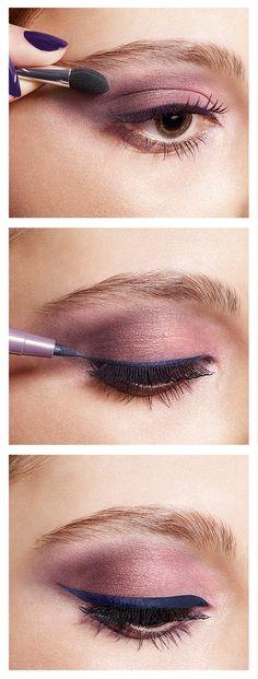 Purple eyeshadow with blue eyeliner #Eyeliner #Oriflame #eyes