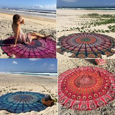Round Bohemian Beach Mandala Round Tapestry Hippie Throw Yoga Mat Towel New  #Unbranded #Bohemian