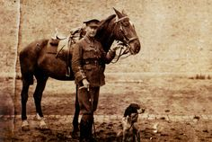 "Lt. Col. John McCrae, the Canadian author of ""In Flanders Fields"", with his beloved horse and dog, Bonneau."