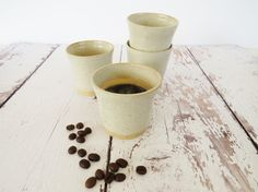 Pair of Espresso Cups, Set of 2 espresso cups, Ceramic Espresso Cup, Espresso Mug,Coffee Mug,Small Cup, Handmade Cup, Tea Cup, Coffee lovers.  These stylish ceramic cups are perfect for starting your day with a fresh espresso or ending it with a small portion of a sweet-sweet dessert! Or you can use them as a cute little planters for your succulents, herbs and other small house plants!  This listing is for 2 items. - Size: 2.6 L x 2.6 W /7 cm L x 6.5 cm W - Color: turquoise - Dishwasher ...
