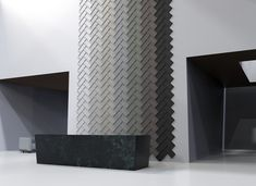 Introducing Ecoustic Edge acoustic wall tiles, designed by design legends Adam Goodrum + Patryk Koca. These versatile three dimensional tiles create the most beautiful defined formations whilst providing superior acoustic absorption. Acoustic Wall, Acoustic Panels, Tile Design, Three Dimensional, Wall Tiles, Most Beautiful, Legends, Ceiling, Create