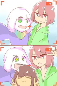 #Storyshift chara asriel frisk #Undertale au. Asriel: ohh come on Chara..Can u smile or do something?? Chara: Fine...Peace Frisk: can i join too?? Asriel: *Gasp* OF COURSE!!