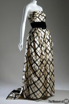 Pierre Balmain evening dress with grid pattern, Fall 1960. Collection of The Museum at FIT