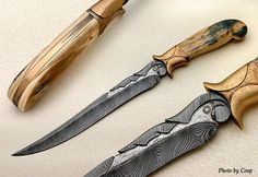 David Broadwell damascus with bronze frame and mammoth ivory.