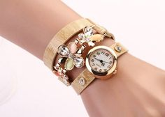 New Women PU Leather Strap Watches Flower Bracelet Women Dress Watch Wristwatches Top Brand Opal Girl's Gift Fashion