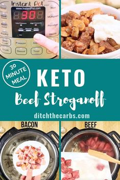 Easy keto beef stroganoff in the Instant Pot - in 30 minutes! You've gotta watch this! dinner instant pot Keto Beef Stroganoff In The Instant Pot + VIDEO — Ditch The Carbs Low Carb Keto, Low Carb Recipes, Healthy Recipes, 7 Keto, Keto Foods, Keto Meal, Paleo, Vegan Beef, Cooker Recipes