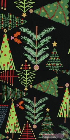 "black fabric with green trees, stars, decorations etc., Material: 100% cotton, Fabric Type: smooth cotton fabric, Pattern Repeat: ca. 63cm (24.8""), Designer: De Leon Design #Cotton #Trees #Christmas #USAFabrics Kawaii, Black Xmas Tree, Alexander Henry, Christmas Fabric, Green Trees, Black Fabric, Decoration, Fabric Patterns, Branding Design"