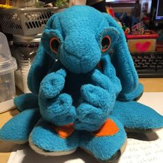 Blue the Seago OctoBunny. Bunny Plush, Suncatchers, Plushies, Dinosaur Stuffed Animal, Creatures, Toys, Instagram Posts, Handmade, Blue