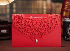 50 Custom Lace Laser Cut Gema Invitaciones de boda únicos Set