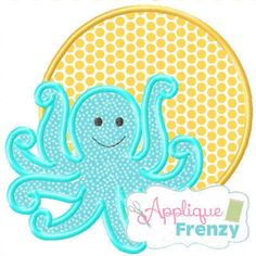 Octopus 3 Circle Patch Applique - 5 Sizes! Strawberry Embroidery Font - 3 Sizes! Applique Frenzy