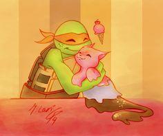 TMNT-A Friend for Mikey by dgLari on deviantART ---  I LOVE ICE CREAM KITTY!