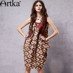 Find More Dresses Information about Artka Women's 2015 Summer New Vintage Patchwork Elegant Sleeveless Dress O Neck Cotton One piece Loose Dress LA14359C ,High Quality dress kaftan,China dress a dress Suppliers, Cheap dresses halloween from Artka on Aliexpress.com