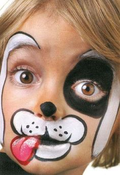 Parenting - Child - 5 Easy Face Painting Designs for Kids (Maquillaje Halloween Media Cara) Puppy Face Paint, Dog Face Paints, Dalmation Makeup, Easy Face Painting Designs, Face Painting Tutorials, Simple Face Painting, Looks Halloween, Halloween Makeup, Artistic Make Up